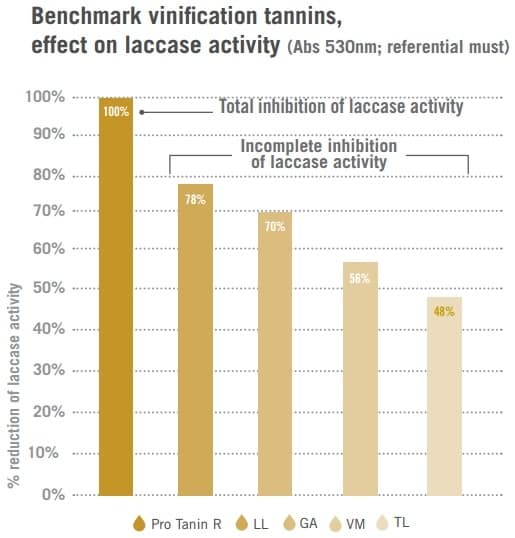 Benchmark Vinification Tannins Effect on Laccase Activity Graph
